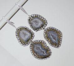 Tabasco Geode Earrings Grey Green Blue Double by DoolittleJewelry, $325.00