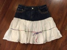 Up-Cycled Jean Skirt Misses Size 8 White Ruffled by reconstruKteD