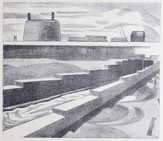 Paul Nash:The Sluice, 1920 (lithograph)