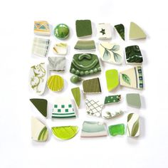 Mood board greens - chartreuse, moss, pea, avocado, kelly, forest, glass