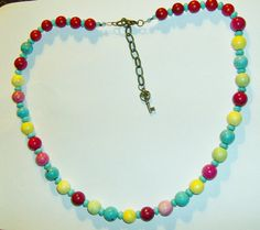 Necklace of Hand Dyed Colored Clay Beads$35 by RubySlipper on Etsy,