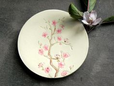 Ceramic Dish Cherry Blossom Plate Jewelry Dish Flower Natural Ring Holder Home Decoration Pottery