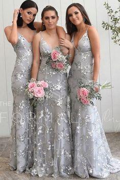 Sparkle Grey Bridesmaid Dresses, Mermaid Long Bridesmaid Dresses, Formal Evening Dresses Senior Prom Dresses, Hoco Dresses, Graduation Dresses, Ball Dresses, Sexy Dresses, Ball Gowns, Bridesmaid Inspiration, Bridesmaid Ideas, Wedding Bridesmaid Dresses