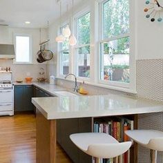 Love, love this penny round backsplash for a kitchen.