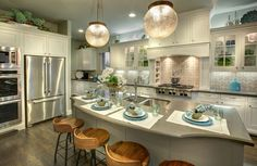 Kitchen with island and custom cabinets