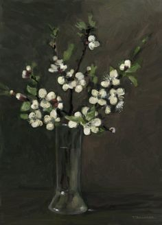 ramuri de primavara. Tablou de Emanuel Tancau Glass Vase, Painting, Home Decor, Decoration Home, Room Decor, Painting Art, Paintings, Painted Canvas, Drawings