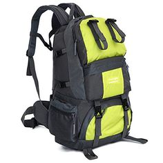 50L Outdoor Waterproof Mountaineering Backpack Travel Hiking Camping Bag Pack Fluorescent Green * Click image for more details.