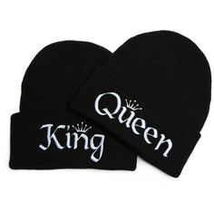 Beanie Bliss Couples Clothing King and Queen Hats Embroidered Beanies... ($25) ❤ liked on Polyvore featuring accessories, hats, embroidered beanie, beanie cap hat, beanie hats, beanie cap and embroidery hats