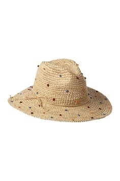Jazz up an otherwise typical straw hat with colorful polka dots courtesy of Everything But Water. Girls Winter Hats, Summer Hats, Gold Hats, Travel Hat, Dress Hats, Outfits With Hats, Womens Fashion For Work, Fashion Edgy, Trends