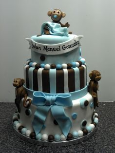 Rockstar monkey baby shower cake by amber spencer cakes pinterest monkey babies and amber - Monkey baby shower cakes for boys ...