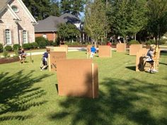 Backyard nerf gun war Big Russ Style! We can use the excuse we are setting this up for the kids, but we all know who will be racking up the casualties on this course!  #nerfgun, #kidsactivities, #summer fun, #parentsrule