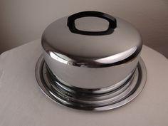 ✿ڿڰۣ(̆̃̃•Aussiegirl  Vintage Locking Stainless Steel Cake Carrier