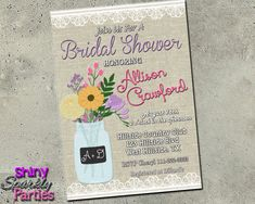 MASON JAR BRIDAL Shower Invitation - Lace and Linen - Wedding Brunch Tea Party Couples Shower Invite - Vintage Shabby Chic Shower Invitation