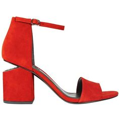 Alexander Wang Abby Cut Out Stack Heel Suede Sandal (6.955 ARS) ❤ liked on Polyvore featuring shoes, sandals, red, open toe shoes, red mid heel sandals, open toe sandals, mid-heel sandals and cutout sandals