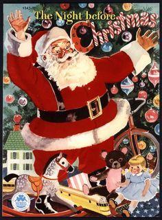 """The Night Before Christmas"" Merrill illus. Childrens Christmas, Old Fashioned Christmas, The Night Before Christmas, Christmas Past, Christmas Books, Father Christmas, Vintage Christmas Cards, Retro Christmas, Christmas Images"