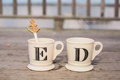 Unique his + hers coffee mugs - white coffee mugs with black block letter initials {Ashley Tilton Photography}