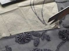 Cutting Out Lace Fabric. A FREE article, guide and online fashion sewing video tutorial, only at http://www.fashionsewingblog.com