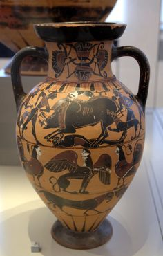The Calydonia boar hunt is possibly shown in the upper frieze of this Tyrrhenian amphora, which is attributed to the Timiades Painter or the Tyrrhenian Group, 560 BC, from southern Etruria, now in the Berlin Collection of Classical Antiquities, Altes Muse