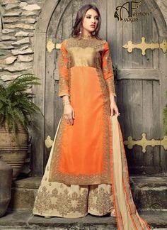 Orange Net Salwar Kameez