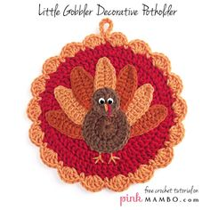 Crochet Little Gobbler Decorative Potholder Free Crochet Pattern from Pink Mambo
