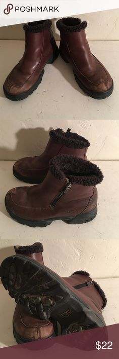 UGG FUR LUNED LEATHER BOOTS SIZE 7 UGG 5150 BROWN LEATHER FUR LINED BOOTS. MINOR COSMETIC WEAR. SIZE ZIPPERS. FUR LINING. SIZE 7 UGG Shoes Winter & Rain Boots