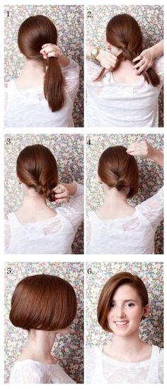 Faux bob hair tutorial★this ones for shania Diy Hairstyles, Pretty Hairstyles, Pinterest Hairstyles, Bob Hairstyle, Bob Updo, Hairstyle Tutorials, Faux Bob Tutorial, Natural Hair Styles, Short Hair Styles