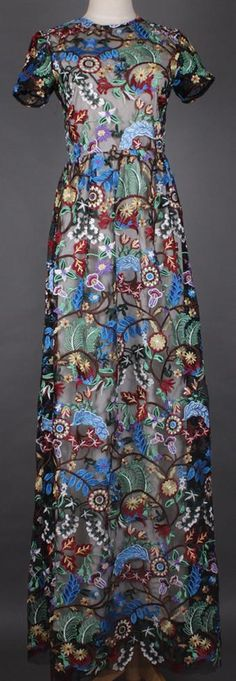 Long Heavily Embroidered Floral Gown