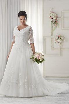 2016 vestidos de una línea de cuello V medias mangas de boda de tul con apliques Tallas grandes