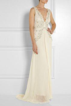 Gorgeous crystal + bead Temperley Londonwedding gown
