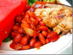 Featured Recipe fo the Week: Crockpot Baked Beans Side Recipes, Ww Recipes, Crockpot Recipes, Cooking Recipes, Dinner Recipes, Baked Beans Crock Pot, Slow Cooker Baked Beans, Healthy Menu, Skinny Recipes
