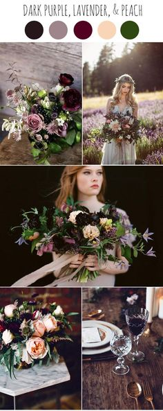 dark purple, lavender, peach and marsala moody wedding colors ideas
