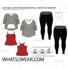 Women's Plus Size Activewear Hooded Pullover Set