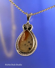 Montana Agate Teardrop Pendant Handcrafted Sterling Jewelry by RichieStubStudio on Etsy