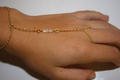 Slave Bracelet in Gold with Clear Swarovski Crystals, Hippie, Boho Chic, Hand Chain