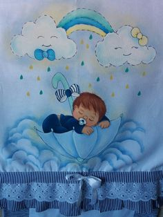 Pintura by Prika Reis Artesanato. Boy And Girl Shared Room, Boy Or Girl, Baby Painting, Fabric Painting, Bed Sheet Painting Design, Fabric Paint Shirt, Pillow Crafts, Baby Shawer, Digital Stamps