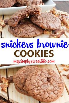 These are chewy brownie cookies filled with chopped Snicker's pieces. A brownie, cookie, and candy bar all in one- what's not to love!