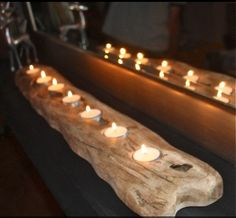 Driftwood/reclaimed wood centerpiece for rectangular table Wood Centerpieces, London Garden, Cowboy Party, Here Comes The Bride, Tea Light Holder, The Hamptons, Tea Lights, Home Accessories, Sweet Home