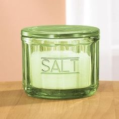 Avocado Green Glass Salt Cellar Lidded Retro Depression Style Kitchen Tabletop