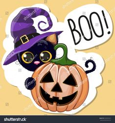 Halloween Cat vector image on VectorStock Halloween Vector, Halloween 20, Halloween Cards, Holidays Halloween, Illustration Cartoon, Halloween Illustration, Fall Canvas Painting, Rock Painting, Pumpkin Images
