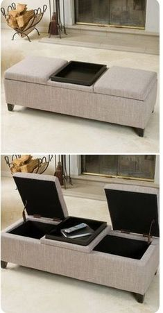 Leather storage ottoman coffee table home 20 Ideas