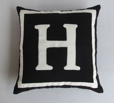 Letter H black and white monogram pillow cover 16 inch IN STOCK