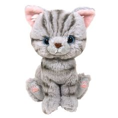 "Almost as good as a real kitty, these cute and fluffy cat plushies can sit, stand or lie down, but make for excellent cuddle partners too!  This very sweet-looking American Shorthair version is available in either gray or brown, each of which has cute stripes with colorful pink paw pads! Each of the plushies measures around 3.9"" x 5.1"" x 6.5""."