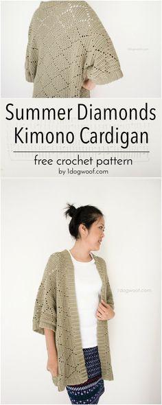 Free crochet pattern for a light summer cardigan, featuring a simple diamond motif. | 1dogwoof.com #CrochetCardigan