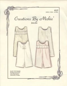 Creations By Michie boys Jon-Jon romper pattern. Childrens Sewing Patterns, Sewing For Kids, Clothing Patterns, Kid Clothing, Children Clothing, Baby Boy Outfits, Kids Outfits, Smocking Baby, Baby Sewing Projects