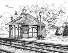 West Hinsdale Train Station - 14 inch by 11 inch pen and Ink architectural drawing on illustration board of the West Hinsdale train station in Hinsdale, IL. Artwork by Mary Palmer; all rights reserved.