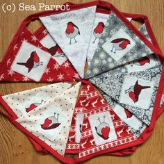 Robin Christmas bunting. A simple craft idea made using Sea Parrot robin fabric. Instructions on my blog. Christmas Bunting, Patchwork Fabric, Fabric Shop, Easy Crafts, Parrot, Fabric Design, Robin, Sea, Simple
