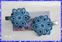 Broches para el cabello hechos a mano con filigrana de papel. Joyería de papel. Joyería de origami