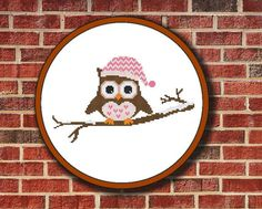 Owl In Hat On Branch Cross Stitch Pattern Digital by Pattaporn, $2.99