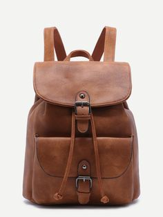 Shop Khaki PU Buckle Strap Drawstring Flap Backpack online. SheIn offers Khaki PU Buckle Strap Drawstring Flap Backpack & more to fit your fashionable needs.