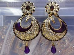 INDIAN BOLLYWOOD EARRINGS SET PEACOCK GOLD TONE CZ PARTYWEAR WOMEN JEWELRY #Handmade #DropDangle